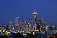 AJ3673, Seattle, skyline, space needle, Washington, Downtown skyline of Seattle at night in the state of Washington.