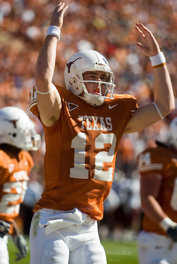 24 November 2006: Texas quarterback Colt McCoy celebrates a touchdown during the Longhorns 12-7 loss to the Texas A&M University Aggies at the Darrell K Royal Memorial Field in Austin, TX.  McCoy was injured late in the fourth quarter and left the field under medical care.
