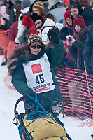 Laura Daugereau team leaves the start line during the restart day of Iditarod 2009 in Willow, Alaska
