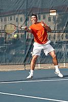SAN ANTONIO, TX - JANUARY 29, 2011: The Laredo Community College Palominos vs. the University of Texas at San Antonio Roadrunners Men's Tennis at the UTSA Tennis Center. (Photo by Jeff Huehn)