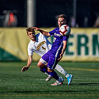 5 October 2019: University of Vermont Catamount Defender Garrett Lillie, a Sophomore from York, Maine, in action against University at Albany Great Danes, on Virtue Field in Burlington, Vermont. The Catamounts fell to the visiting Danes 3-1 in America East, Division 1 play. Mandatory Credit: Ed Wolfstein Photo *** RAW (NEF) Image File Available ***