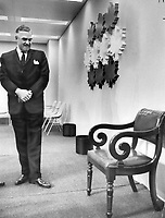 On Eve of the confederation of Tomorrow conference, Ontario Premier John Robarts examined the chair, brought from Charlottetown, on which Sir John A. Macdonald once sat. That fellow was much thinner than I, he said.<br /> <br /> Photo : Boris Spremo - Toronto Star archives - AQP