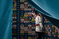 socially distanced post-race interview for CX world champion Mathieu Van der Poel (NED/Alpecin-Fenix)<br /> <br /> Men's Race at the X2O Herentals Cross 2020 (BEL)<br /> <br /> ©kramon