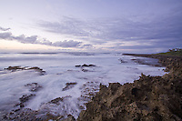 Slow motion image of waves breaking over the rocks at Turtle Bay