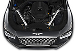 Car stock 2019 Genesis G70  Prestige 4 Door Sedan engine high angle detail view