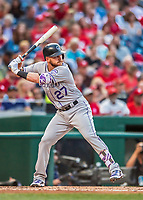 29 July 2017: Colorado Rockies infielder Trevor Story in action against the Washington Nationals at Nationals Park in Washington, DC. The Rockies defeated the Nationals 4-2 in the first game of their 3-game weekend series. Mandatory Credit: Ed Wolfstein Photo *** RAW (NEF) Image File Available ***