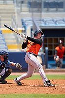 FCL Orioles Orange Jacob Teter (26) bats during a game against the FCL Rays on August 2, 2021 at Charlotte Sports Park in Port Charlotte, Florida.  (Mike Janes/Four Seam Images)