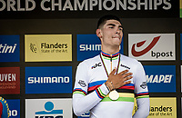 Filippo Baroncini (ITA/Colpack Ballan) is the 2021 U23 Road Race World Champion<br /> <br /> U23 - Road Race (WC)<br /> race from Antwerp to Leuven (161.1km)<br /> <br /> UCI Road World Championships - Flanders Belgium 2021<br /> <br /> ©kramon
