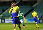 Hibs v St JohnstoneÖ24.11.20   Easter Road      SPFL<br /> Michael OíHalloran reacts after shooting wide<br /> Picture by Graeme Hart.<br /> Copyright Perthshire Picture Agency<br /> Tel: 01738 623350  Mobile: 07990 594431
