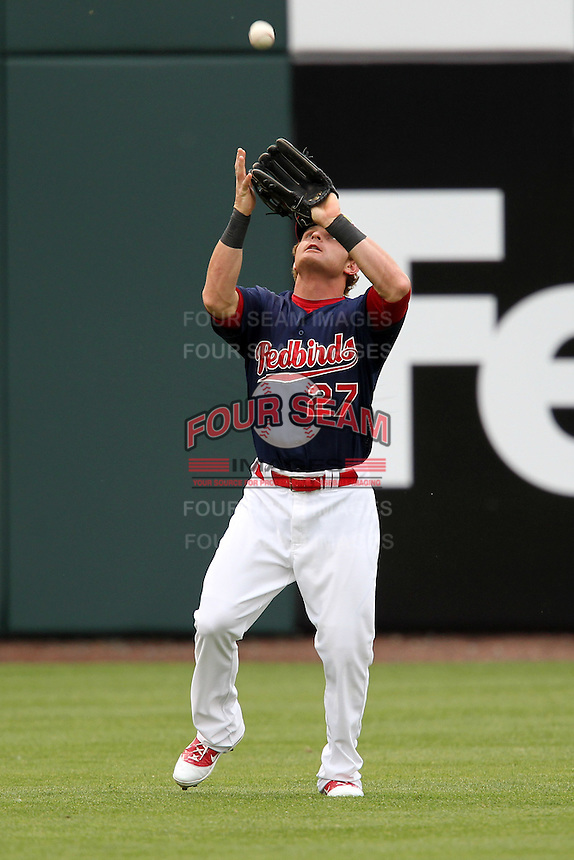 Memphis Redbirds outfielder Aaron Luna #27 during a game versus the Round Rock Express at Autozone Park on April 30, 2011 in Memphis, Tennessee.  Memphis defeated Round Rock by the score of 10-7.  Photo By Mike Janes/Four Seam Images