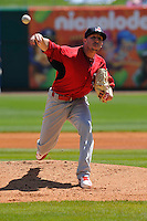 Springfield Cardinals starting pitcher Corey Baker (38) throws during the game against the Northwest Arkansas Naturals at Arvest Ballpark on May 4, 2016 in Springdale, Arkansas.  Springfield won 10-6.  (Dennis Hubbard/Four Seam Images)