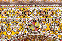 Senegal, Touba.  Moroccan-style Stucco Work above one of the Entrances to the Grand Mosque.
