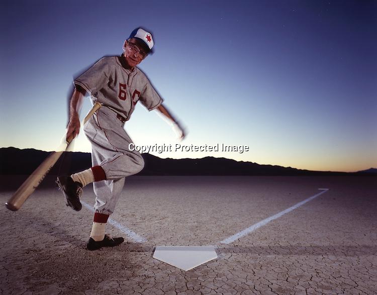 Playing baseball in Black Rock Desert, Nevada.