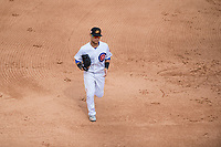 Mesa Solar Sox center fielder D.J. Wilson (1), of the Chicago Cubs organization, jogs off the field between innings of an Arizona Fall League game against the Peoria Javelinas at Sloan Park on October 11, 2018 in Mesa, Arizona. Mesa defeated Peoria 10-9. (Zachary Lucy/Four Seam Images)