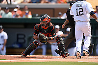 Miami Marlins catcher Jhonatan Solano (8) waits for a throw as Anthony Gose (12) scores a run during a Spring Training game against the Detroit Tigers on March 25, 2015 at Joker Marchant Stadium in Lakeland, Florida.  Detroit defeated Miami 8-4.  (Mike Janes/Four Seam Images)