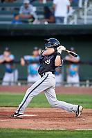Missoula Osprey Nick Grande (49) at bat during a Pioneer League game against the Idaho Falls Chukars at Melaleuca Field on August 20, 2019 in Idaho Falls, Idaho. Idaho Falls defeated Missoula 6-3. (Zachary Lucy/Four Seam Images)