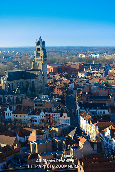 Brugge Panorama With Saint Salvator Cathedral From Belfort Tower, Belgium