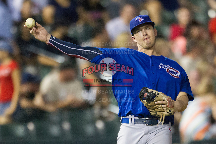 Iowa Cubs third baseman Josh Vitters (1) makes a throw to first base against the Round Rock Express in the Pacific Coast League baseball game on July 21, 2013 at the Dell Diamond in Round Rock, Texas. Round Rock defeated Iowa 3-0. (Andrew Woolley/Four Seam Images)