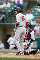 Pawtucket Red Sox first baseman Allen Craig (5) at bat during a game against the Rochester Red Wings on July 1, 2015 at Frontier Field in Rochester, New York.  Rochester defeated Pawtucket 8-4.  (Mike Janes/Four Seam Images)