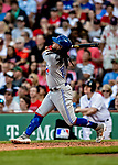 Jun 22, 2019; Boston, MA, USA; Toronto Blue Jays shortstop Freddy Galvis hits a 2-run home run in the 7th inning against the Boston Red Sox at Fenway Park. Mandatory Credit: Ed Wolfstein-USA TODAY Sports