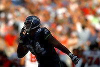 Sep 18, 2005; Seattle, WA, USA; Seattle Seahawks left defensive end Bryce Fisher #94 celebrates as time runs out on the clock to end the game against the Atlanta Falcons. Mandatory Credit: Photo By Mark J. Rebilas