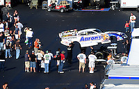 Apr. 14, 2012; Concord, NC, USA: NHRA funny car driver Matt Hagan during qualifying for the Four Wide Nationals at zMax Dragway. Mandatory Credit: Mark J. Rebilas-