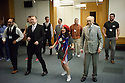 London, UK. 23.02.2015. A Lindy Hop dance class is held at Portcullis House, Westminster, hosted by DanceUK, with MPs as guests, to launch the Dance Manifesto.  Strictly's Jenny Thomas and Robin Windsor teach the class, whilst Bic Graham, from The Lindy Club,  DJs. Picture shows: Chris Heaton-Harris (MP and chair of the Board of Trustees for Royal and Derngate Theatre) and Right Hon Sir Gerald Kaufman (MP and chair of the All-Party Parliamentary Dance Group) learning some basic steps. Photograph © Jane Hobson.