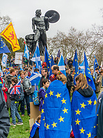 London, UK - March 23 2019: the peoples show her flag and banner in Hyde Park during the demonstration the people Brexit march for people's vote protest. Photo Adamo Di Loreto/BuenaVista*photo