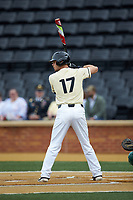 Bruce Steel (17) of the Wake Forest Demon Deacons at bat against the Miami Hurricanes at David F. Couch Ballpark on May 11, 2019 in  Winston-Salem, North Carolina. The Hurricanes defeated the Demon Deacons 8-4. (Brian Westerholt/Four Seam Images)