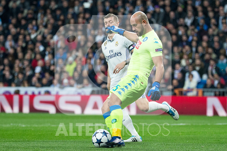 Jose Manuel Reina of SSC Napoli in action during the match of Champions League between Real Madrid and SSC Napoli  at Santiago Bernabeu Stadium in Madrid, Spain. February 15, 2017. (ALTERPHOTOS)