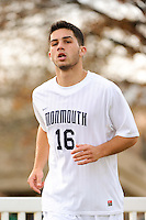George Caiella (16) of the Monmouth Hawks. Dartmouth defeated Monmouth 4-0 during the first round of the 2010 NCAA Division 1 Men's Soccer Championship on the Great Lawn of Monmouth University in West Long Branch, NJ, on November 18, 2010.
