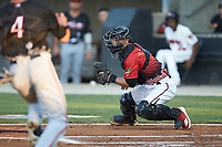 South Division catcher Max McDowell (4) of the Carolina Mudcats looks to make a play on Carter Kieboom (4) of the Potomac Nationals during the 2018 Carolina League All-Star Classic at Five County Stadium on June 19, 2018 in Zebulon, North Carolina. The South All-Stars defeated the North All-Stars 7-6.  (Brian Westerholt/Four Seam Images)