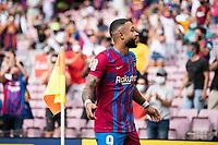 29th August 2021; Nou Camp, Barcelona, Spain; La Liga football league, FC Barcelona versus Getafe; Memphis Depay Barcelona celebrates scoring for 2-1 in the 30th minute
