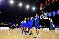 Kerwin Roach of the Wellington Saints enters the court during player introductions prior to the NBL match between the Wellington Saints and the Auckland Huskies at TSB Bank Arena, Wellington, New Zealand on Friday 28 May 2021.<br /> Photo by Masanori Udagawa. <br /> www.photowellington.photoshelter.com