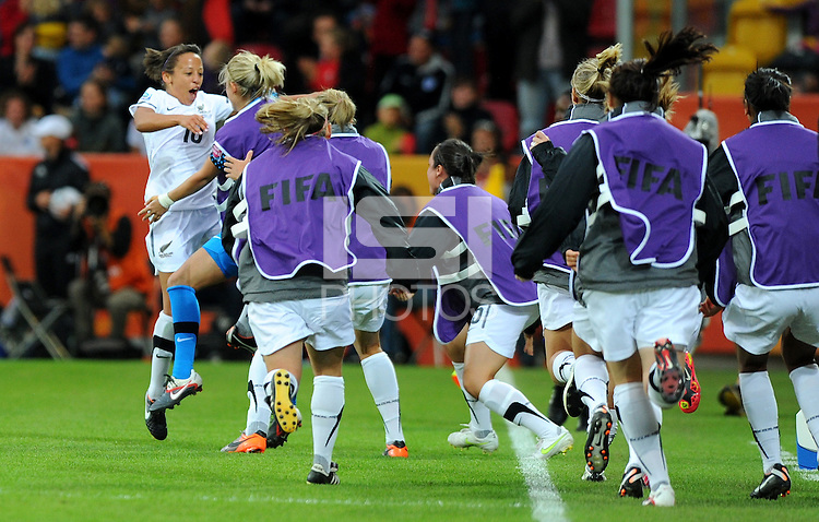 Sarah Gregorius (l) of Team New Zealand celebrates during the FIFA Women's World Cup at the FIFA Stadium in Dresden, Germany on July 1st, 2011.