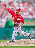 22 September 2013: Washington Nationals pitcher Ryan Mattheus on the mound against the Miami Marlins at Nationals Park in Washington, DC. The Marlins defeated the Nationals 4-2 in the first game of their day/night double-header. Mandatory Credit: Ed Wolfstein Photo *** RAW (NEF) Image File Available ***