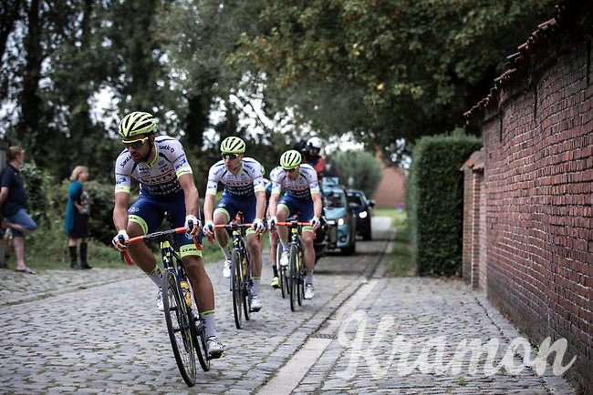 Team Wanty Gobert riders on a cobbled section <br /> <br /> Antwerp Port Epic 2019 <br /> One Day Race: Antwerp > Antwerp 187km<br /> <br /> ©kramon