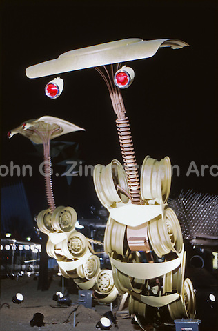 Chrysler Sculpture Zoo, 1964 World's Fair, Flushing Meadows New York. The animals were made out of auto parts, including the 12 foot tall mantis pictured here. Photo by John G. Zimmerman.