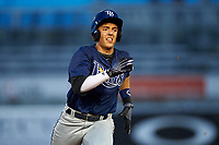 Colton Welker (15) of Marjory Stoneman Douglas High School in Coral Springs, Florida playing for the Tampa Bay Rays scout team during the East Coast Pro Showcase on July 27, 2015 at George M. Steinbrenner Field in Tampa, Florida.  (Mike Janes/Four Seam Images)