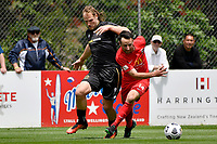 Sean Liddicoat  of Canterbury United competes for the ball with Hamish Watson of Team Wellington during the ISPS Handa Men's Premiership - Team Wellington v Canterbury Utd at David Farrington Park, Wellington on Saturday 19 December 2020.<br /> Copyright photo: Masanori Udagawa /  www.photosport.nz