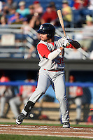 Brooklyn Cyclones outfielder Michael Conforto (39) at bat during a game against the Batavia Muckdogs on August 9, 2014 at Dwyer Stadium in Batavia, New York.  Batavia defeated Brooklyn 4-2.  (Mike Janes/Four Seam Images)