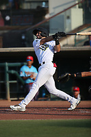 Jose Guzman (3) of the Cucuys de San Bernardino bats against the los Toros de Visalia at San Manuel Stadium on July 11, 2021 in San Bernardino, California. (Larry Goren/Four Seam Images)