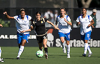 SANTA CLARA, CA--Tina DiMartino fends off Abby Crumpton, Kristine Lilly and Fabiana, during the 1-0 loss to the Boston Breakers.  Sunday, July 19, 2009.