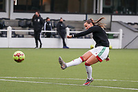 Hannah Eurlings of OHL (9) shoots at the goal during the warm up before a female soccer game between Oud Heverlee Leuven and Femina White Star Woluwe  on the 5 th matchday of the 2020 - 2021 season of Belgian Womens Super League , Sunday 18 th of October 2020  in Heverlee , Belgium . PHOTO SPORTPIX.BE | SPP | SEVIL OKTEM