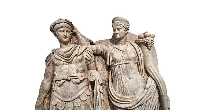 Close up of Roman Sebasteion relief  sculpture of Nero being crowned emperor by Agrippina, Aphrodisias Museum, Aphrodisias, Turkey.     Against a white background.<br /> <br /> Agrippina crowns her young son Nero with a laurel wreath. She carries a cornucopia, a symbol of Fortune and Plenty, and he wears the armour and cloak of a Roman commander, with a helmet on the ground near his feet. The scene refers to Nero's accession as emperor in AD 54, and belongs before AD 59 when Nero had Agrippina murdered.