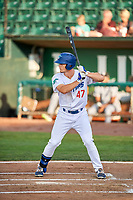 James Outman (47) of the Ogden Raptors bats against the Grand Junction Rockies at Lindquist Field on July 25, 2018 in Ogden, Utah. The Rockies defeated the Raptors 4-0. (Stephen Smith/Four Seam Images)