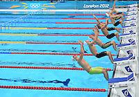 August 01, 2012..LtoR: Radoslaw Kawecki, Mitch Larkin, Jan-Philip Glania, Ryan Lochte, Ryosuke Irie, Yakov Toumarkin, Yannick Lebherz, Leonardo Deus compete in Men's 200m Backstroke Semifinal at the Aquatics Center on day five of 2012 Olympic Games in London, United Kingdom.