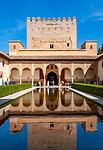 Spanien, Andalusien, Granada: Alhambra, Patio de Arrayanes | Spain, Andalusia, Granada: Alhambra, Patio de Arrayanes