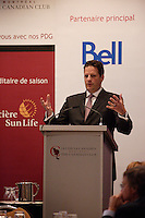 Montreal (Qc) CANADA - nov 1 2010 - Jacques L. Drouin, President & CEO of Prosep Inc. at the Canadian Club of Montreal's podium.<br /> <br /> ProSep is in the first position of the Quebec's winners among the Deloitte Technology Fast 50TM program. ProSep ranked seventh among this awards program, which is a ranking of the country's 50 fastest-growing technology companies based on percentage revenue growth over five years. ProSep also received, for the third consecutive year, a Technology Green 15TM Award. This award showcases 15 Canadian companies that are leading the way to create major breakthroughs in the field of green technologies.<br /> <br /> ProSep Inc. is dedicated to providing process solutions to the oil and gas industry. ProSep designs, develops, manufactures and commercializes technologies to separate oil, water and gas generated by oil and gas production.