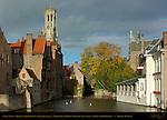 Canal Scene: Djiver at Rozenhoedkaai Red Hat Quay, Wollestraat Hotels, Belfort Bell Tower, and Duc de Bourgogne, Bruges, Brugge, Belgium